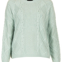 Knitted Angora Cable Jumper - New In This Week - New In - Topshop USA