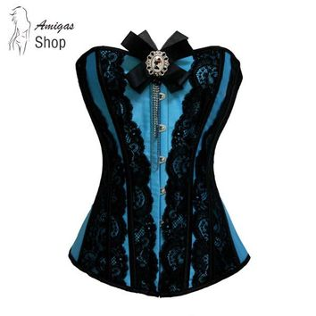 Amigas Blue Corsets Overbust Plus Size Corselet Waist Train Corset Top Sexy Corsage Lace Up Burlesque Female Gothic Corset Fajas