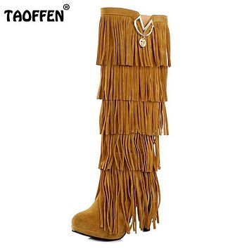 TAOFFEN Plus size 32-43 New Flock Winter Fur Women boots High heels Knee boots Fringe Tassels Black Brown Red Yellow Beige Punk