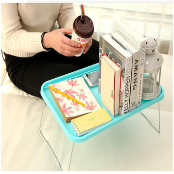 free shipping light  plastic  notebook desk  laptop table computer desk  stand for bed  office furniture Foldable small desk