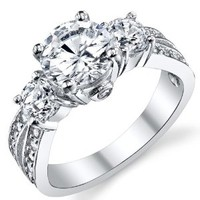 """1.50 Carat Round Cubic Zirconia """" Past, Present, Future"""" Sterling Silver 925 Wedding Engagement Ring"""