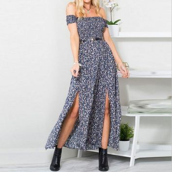 Fashion Off Shoulder Short Sleeve Retro Floral Print Split Strapless Maxi Dress