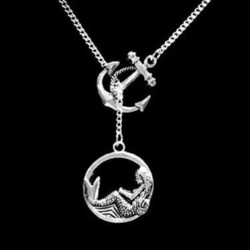 Anchor Mermaid Ocean Beach Nautical Mythical Creature Lariat Necklace
