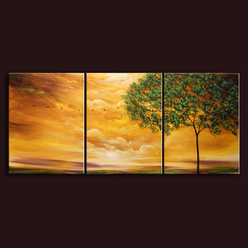 art painting 66 x 28 original painting landscape wall art tree painting folk art HUGE retro illustration