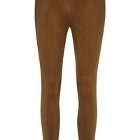 Suede Leggings - Camel