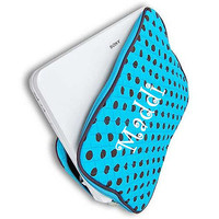 Monogrammed Laptop Sleeve  Turquoise and Brown Polka Dot Personalized Laptop Case  Embroidery Monogram Laptop Bag