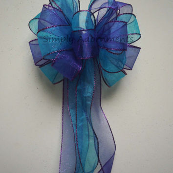 Purple Blue Peacock Wedding Pew Bow Aqua Blue Purple Party Decoration Bow Wedding Chair Bow Bridal Shower Decoration Bows Large Gift Bows