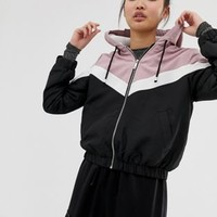New Look fleece lined zip up jacket in pink and black chevron | ASOS