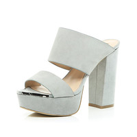 River Island Womens Grey leather block heel platform mules