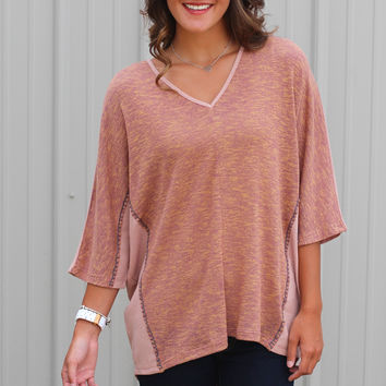 Stitch Me Up V-neck {Mauve}
