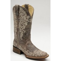 Corral Ladies' Boots Distressed Brown Crater with Bone Embroidery