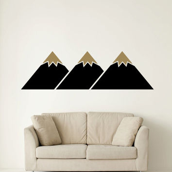 Wall Decal Geometric Mountain Peak Triangles Wanderer Hiking Mountain Range Dorm Decor #walldecal #walldecor #mountain #peak #wanderlust