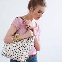 Charcoal Dots Tote Bag, Hand Printed Canvas, Leather Straps