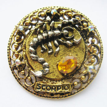 Vintage Scorpio Brooch - Signed ART Raised Relief Brooch - Topaz November Birthstone - Zodiac Astrology Pin - October November Birthday Gift
