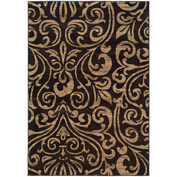 Oriental Weavers Emerson 2033C Black/Gold Botanical Area Rug