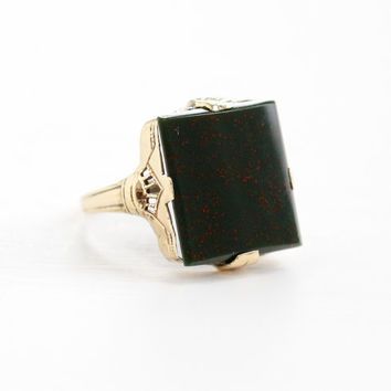 Vintage 10k Rose Gold Bloodstone Filigree Ring - Size 5 3/4 Art Deco 1920s Hallmarked OB Ostby Barton Titanic Fine Green Red Jewelry