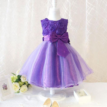 Newest Baby Girls Chiffon Princess Dress Beads Flower Bow Wedding Formal Dresses Puff 2-7Y Freeshipping Alternative Measures - Brides & Bridesmaids - Wedding, Bridal, Prom, Formal Gown