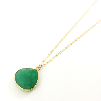 Chrysoprase Teardrop Necklace, Delicate, Dainty, Gold Necklace, Green Gemstone, Stone, Emerald, Bridesmaids, Stone, Drop, Boho, Gem Necklace