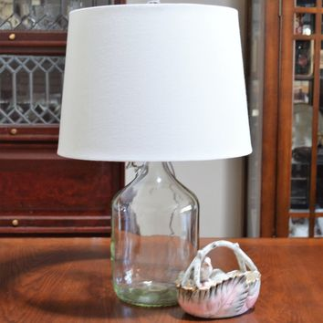 Clear Fillbable Glass Jug Bottle Lamp With Fabric Shade
