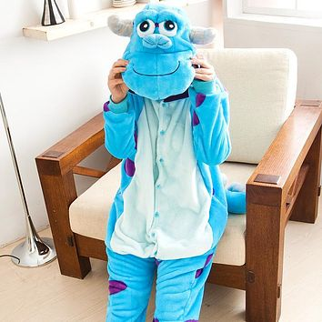 HOT Anime Pijama Cartoon Unisex Adult Hooded Pajamas Sullivan Cosplay Costume Animal Onesuit Soft Sleepwear Suit Sullivan