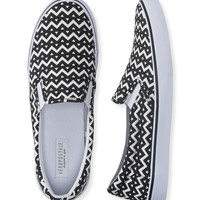 Aeropostale  Chevron Slip-On Deck Shoe - Black, 6