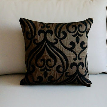 Bronze damask Embroidered pillow Bronze Decorative Pillow onyx damask throw pillows designer decorative throw pillows warwick pillows