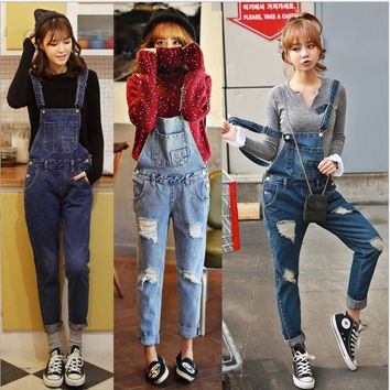 Denim Rompers Womens Jumpsuit Jeans Overalls  Ripped Hole Denim Overalls Women Slim Elegant Sexy Jumpsuit 2018 AZ323