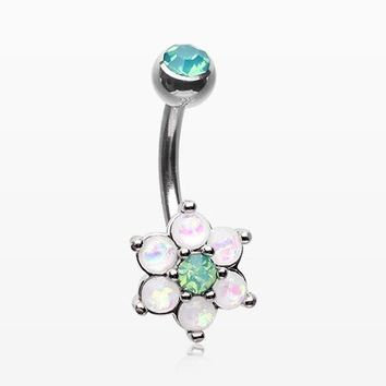 Opalescent Spring Flower Sparkle Belly Button Ring
