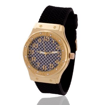The 14K Gold CZ Checkered Watch