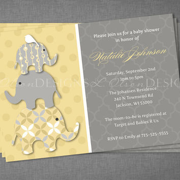 Stacked Elephants Baby Shower Invitation - Yellow - DIY Printable