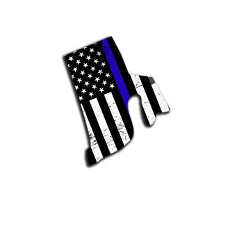 Rhode Island Distressed Subdued US Flag Thin Blue Line/Thin Red Line/Thin Green Line Sticker. Support Police/Firefighters/Military