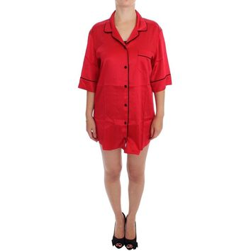 Dolce & Gabbana Red Silk Stretch Oversize Sleepwear Shirt