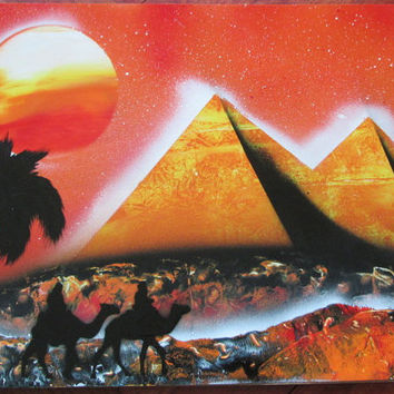 egyptian pyramid spray paint art,egyptian art,egyptian decor,gift for mom,pyramid painting,space poster,galaxy decor,space wall art,birthday