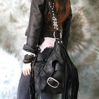 Black pirate style bag leather crossbody bag fringe hobo unique purse free boho people bohemian sweet smoke fringed gypsy festival studded
