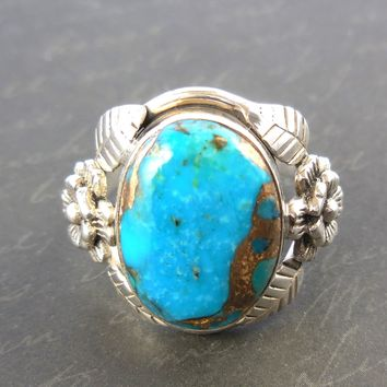 Turquoise in Copper .925 Sterling Silver Flower Ring - Size 7.75