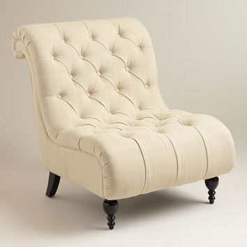 LINEN TUFTED DEVON SLIPPER CHAIR