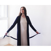 Dark blue maxi knit autumn coat, Knitted maxi blue cardigan with pockets