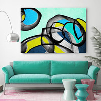 """Vibrant Colorful Abstract-65. Mid-Century Modern Green Blue Canvas Art Print, Mid Century Modern Canvas Art Print up to 72"""" by Irena Orlov"""