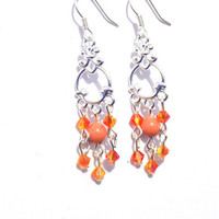 Fire opal chandelier earrings