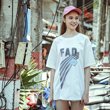 Summer White Alphabet Print Strong Character Ladies Half-sleeve T-shirts [6308566532]