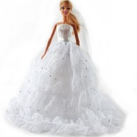 Barbie Small Silver Sequins Lace Wedding Gown, Bride Barbie Dress - Dolls NOT Included