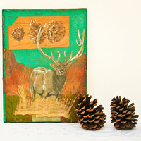 Original Mixed Media Drawing - Woodland Elk - Cabin Style