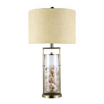 Millisle Table Lamp In Antique Brass And Clear Glass With Shells Antique Brass,Clear