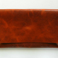 Caramel Brown Leather Clutch