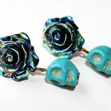 Day of the Dead Dia de los Muertos Post Earrings Frida Kahlo Iridescent Blue Rose Turquoise Sugar Skull Studs Kawaii Dangle Hypoallergenic
