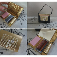 Vintage Compact Vintage Carry All Dance Purse Gold Tone Compact with Rhinestones Lipstick Case Powder Compact Ladies Purse Ladies Compact