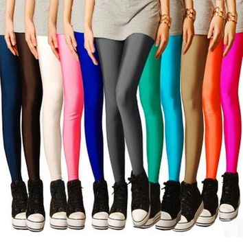 MDIG4F 2017 Candy Neon leggings Workout Leggings Women push up Pants Jeggings Elastic Seamless stretched Shiny pants All Colors
