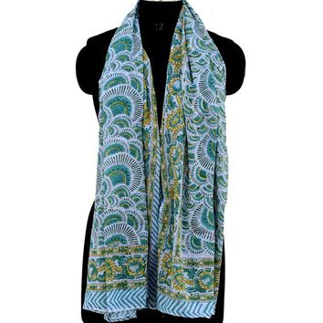 Green Color Light Breathable Cotton Sarong  | Beach Cover up | Party Wear Scarf