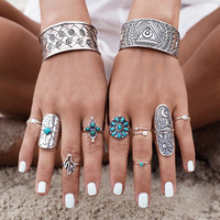 9pcs/Set Vintage Antique Silver and Turquoise Knuckle Ring Set