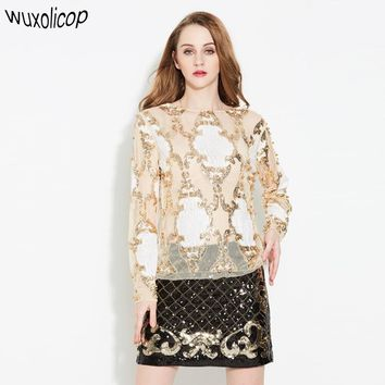 Luxury Designer Women Sexy See-Though Lace Shirt Top Long Sleeve Heavy Beaded Diamond Embroidery Sequined Blouse